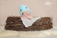 Blue bird hat 03 month size baby birdy beanie por maddieloubeanies, $31,00