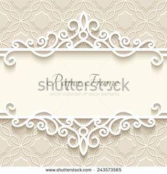 Vintage vector background with paper border decoration, divider, header, ornamental frame template, eps10