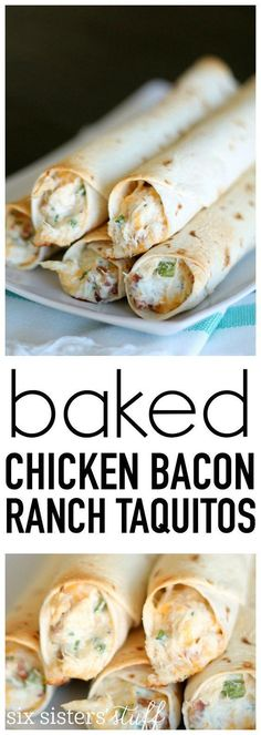 Chicken Bacon Ranch Taquitos from SixSistersStuff.com. Even my picky eaters love these! Great for lunch, dinner or an afterschool snack. #recipe Easy Recipes, Easy Meals, Cooking Basmati Rice, Tacos, Chicken, Meat, Ethnic Recipes, Food, Easy Food Recipes