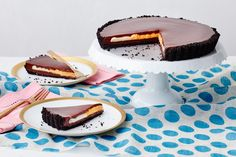 """CHOCOLATE """"CREME EGG"""" TART - This decadent dessert delivers the flavor of a certain beloved Easter candy in the form of an elegant tart with a crispy cookie crust. Chocolate Wafers, Chocolate Cream, Cadbury Chocolate, Easter Chocolate, Chocolate Desserts, Chocolate Tarts, Decadent Chocolate, Chocolate Ganache, Tart Recipes"""