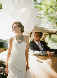 Nada and Paul let their interior design aesthetics show while incorporating whimsical touches, like a bouquet of white balloons. Show Me Pictures, Bride Pictures, Wedding Makeup, Wedding Bride, Wedding Dresses, Perfect Bride, Perfect Wedding, Wedding Day Jewelry, White Balloons