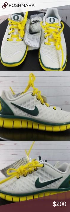 Oregon Ducks Trainer Team Issued Promo Samples Oregon Ducks Trainer Team Issued Promo Sample Nike Free Trainer Size 1.5 Youth  These are brand new shoes never worn. Box may have some writing on it but shoes are in excellent mint condition.  Very rare and only few of them were made.  Extra white shoe laces included  comes with yellow  Promo Tags are on shoes for verification purposes.  Please see pictures  Let us know if you have any questions. Nike Shoes Sneakers