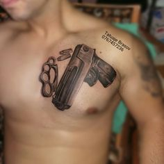 #Gangsta +gun+tattoo