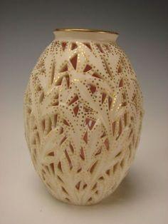 Reticulated Grainger Worcester China Porcelain Vase c1875