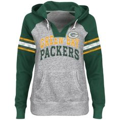 Green Bay Packers Ladies Huddle V-Neck Hoodie - Steel/Green.   Looks like a comfy sweatshirt for gamedays...... :).  (even tho at our house it is bad juju to wear team apparel on the big game days....)