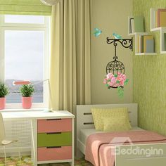 Only costs$6.00.  Pink Flowers and Birds Wall Stickers for Home Decoration