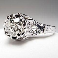 Art Deco Antique Engagement Ring Old European Cut Diamond Set In Platinum