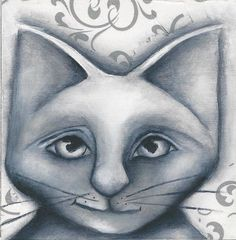 Cat NFAC original 4x4 painting wood Black and White mixed media pet animal art   #Expressionism