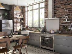 Ambiance indus' pour la cusine Ice.  Avec des meubles aux façades effet inox, associés aux murs de brique rouge et aux carreaux de ciment pour un style industriel revisité.