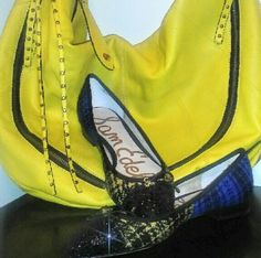 Price DROP! HALF OFF! 2-toned Sam Edelman Flats Go ahead, make me an OFFER by using the OFFER button!These fashion forward, brand new flats are the perfect accessory to give uniqueness to your outfit! Featuring a 2-toned blue and yellow plaid with a beautiful gold-tipped bow atop a black glitter pointed toe! True to size US 6, never worn, smoke/pet free home  Sam Edelman Shoes Flats & Loafers