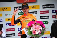 Samuel Sanchez (Euskaltel-Euskadi) celebrates stage victory at the Criterium du Dauphine.