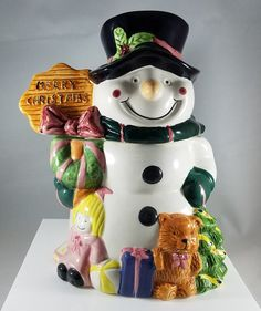 Christmas Snowman Cookie Jar 918 by RubyLaneTreasures on Etsy