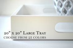 20 x 20 Large Tray with Handles - Choose your Color - Large Square Ottoman Tray, Wood Coffee Table Tray