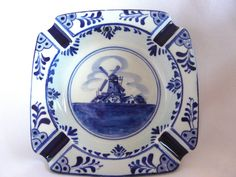 Vintage Delfts Blue Ashtray 673 Windmill Hand Painted