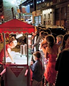 Set up a gelato cart outside of your reception venue so guests can enjoy a refreshing late-night snack. (Could we do this with Jeni's? Blue Wedding, Summer Wedding, Wedding Set, Gelato, Wedding Reception Decorations, Wedding Receptions, Reception Ideas, Invitation, Wedding Activities