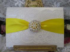 S0371W WHITE LACE WEDDING INVITATION THANK YOU DAFFODIL YELLOW Beautiful Unique Handmade Wedding Stationery from www.vintagelaceweddingcards.co.uk