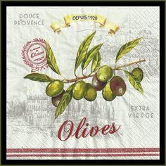 Paper Napkins for Decoupage Decopatch Craft Vintage Olives Olives, Provence, Olive Boutique, Metal Watering Can, Paper Napkins For Decoupage, Dinner Napkins, Decoration, Altered Art, Collage Art