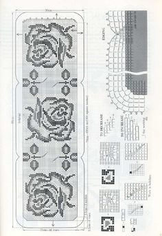Free filet crochet table runner diagram chart pattern plus many roses runner filet work diagram only ccuart Choice Image