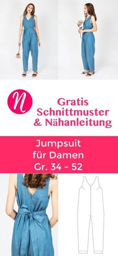 Jumpsuit für Damen - gratis Schnittmuster Free pattern for a jumpsuit for women. 34 - Suitable for light and medium weaving ✂️ Sewing talents - The magazine for hobby cutters ✂️ Free sewing pa Free Sewing, Vintage Sewing Patterns, Clothing Patterns, Dress Patterns, Pattern Sewing, Crochet Patterns, Knitting Patterns, Sewing Designs, Sewing Dress