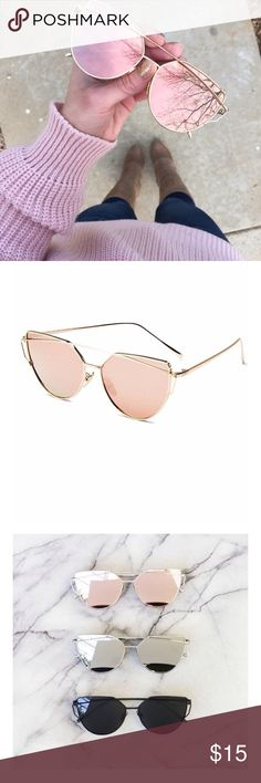 Rose Gold Sunglasses New stylish rose gold sunglasses with gold trim. One size fits all. Accessories Sunglasses