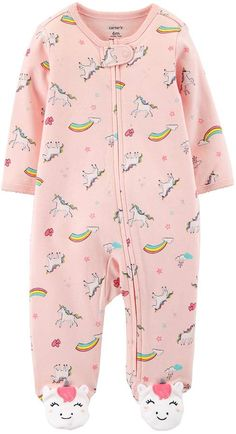 Carter's Baby Girl Unicorn & Rainbows Sleep & Play - May 18 2019 at Kids Clothes Uk, Cheap Baby Clothes, Organic Baby Clothes, Kids Clothing, Babies Clothes, Baby Outfits, Baby Girl Dresses, Kids Outfits, Carters Baby Girl Clothes