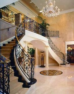 Mediterranean Staircase Photos Design, Pictures, Remodel, Decor and Ideas - page 7 Luxury Staircase, Foyer Staircase, Staircase Design, Staircases, Dream Home Design, My Dream Home, Home Interior Design, House Design, Mansion Interior