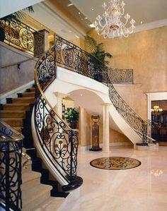 Mediterranean Staircase Photos Design, Pictures, Remodel, Decor and Ideas - page 7 Home Room Design, Dream Home Design, Home Interior Design, Luxury Staircase, Staircase Design, Foyer Staircase, Staircases, Mansion Interior, Interior Stairs