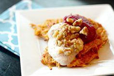 Sweet Potato Latkes with Cranberry Pecan Applesauce and Cinnamon Yogurt ~  These Sweet Potato Latkes have the perfect Thanksgivukkah flavors!  Recipes @: http://whatjewwannaeat.com/sweet-potato-latkes-cranberry-pecan-applesauce-cinnamon-yogurt/