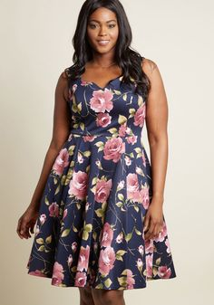 d0ac1226e572 Measured Magnificence Fit and Flare Dress in Navy Floral. Plus Size ...
