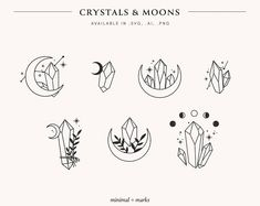 Crystal Tattoo, Crystal Logo, Lunar Flowers, Gem Tattoo, Make Your Own Logo, Witch Tattoo, Sell My Art, Cute Tattoos, Tatoos