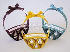 Hershey's Easter Basket UPDATED Tutorial | Hershey's Kisses, Easter, Baskets, Video, Step-by-Step, Crazy About You, Stampin' Up, Qbee's Quest, Brenda Quintana