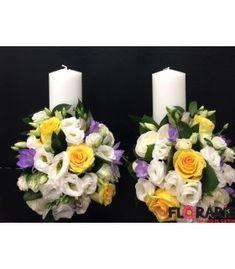 Lumanari nunta scurte trandafiri galbeni si frezii