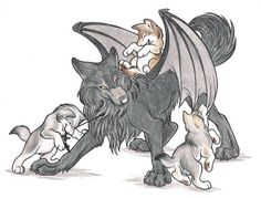 Wolf with wings and cubs