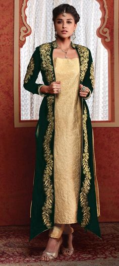 451772 Beige and Brown,Green  color family Party Wear Salwar Kameez in Art Silk,Velvet fabric with Machine Embroidery,Resham,Zari work .