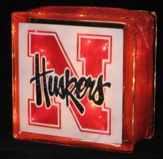 Items similar to Nebraska Huskers Glass Block Light on Etsy