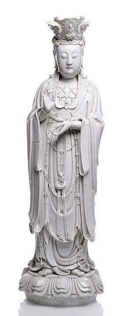 ❤ - A large dehua model of standing Guanyin, China, impressed gourd mark Dehua and further seal mark Pu ji yu ren, century Sacred Feminine, Taoism, Guanyin, Buddhist Art, Chinese Art, Asian Art, Japanese Art, Oriental, 18th Century