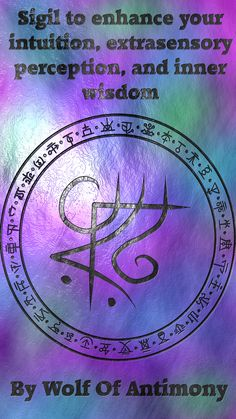 Sigil to enhance your intuition, extrasensory perception, and inner wisdom Witch Symbols, Rune Symbols, Magic Symbols, Symbols And Meanings, Witchcraft Spells For Beginners, Magick Spells, Reiki, Alchemy, Witch Spell Book