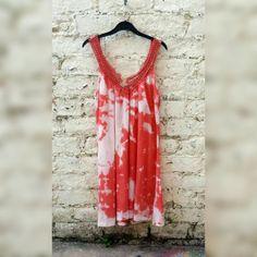 Boho Dress Hippie Tie Dye Coral & White Bohemian by AbiDashery