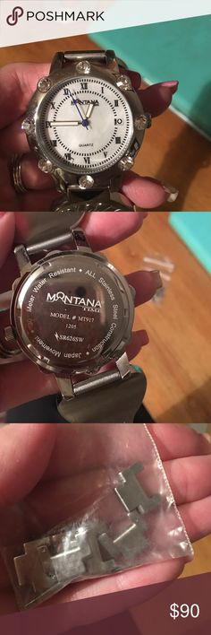 Montana west watch worn once for maybe an hour Montana west watch brand new worn once for maybe an hour had links taken out and still to big on me. Links are in the bag along with the pins kept everything together. I do have a dog box for it to go in. montana west Accessories Watches