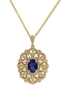 Royale Bleu by EFFY Diffused Sapphire (9/10 ct. t.w.) and Diamond (1/6 ct. t.w.) Pendant Necklace in 14k Gold