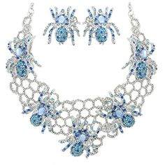 EVER FAITH Halloween Spider Web Blue Austrian Crystal Necklace Earrings Set http://www.amazon.com/dp/B00AT9T36E/ref=cm_sw_r_pi_dp_igkUvb1T7J5QM