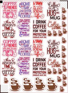 Coffee stickers fits erin condren life by AngelasAccessories9