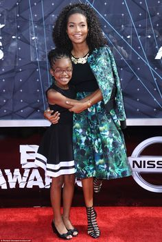 Close: Actress Marsai Martin caught the eye in a visually striking blue and green skirt an...