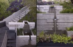 Water feature,contemporary urban garden,concrete wall, elevation changes, by Surface Design Inc.