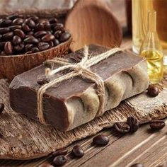 This cold process recipe makes a thick, creamy and super rich bar, with a subtle smell of coffee and chocolate. #homemadesoap