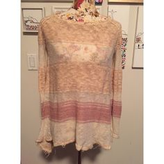 FREE PEOPLE Frayed Sweater FREE PEOPLE Frayed Sweater. Longer in the back, with crochet detailing Free People Sweaters Crew & Scoop Necks