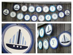 Sailboat & Nautical Birthday Boy or Baby Shower Banner by TwoDoodlesDesigns, $26.00