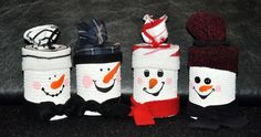 Recycled tin can snowmen. These would make great Christmas gifts , could fill with cookies or candy.