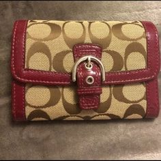 Red and tan signature Coach wallet Red and tan signature Coach wallet Coach Bags Wallets