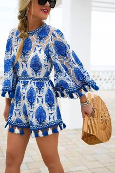 38bf546bf0 Blue Mock Neck Lace Embroidery Tribal Pattern Tassel Trim Romper Playsuit -  S   Blue